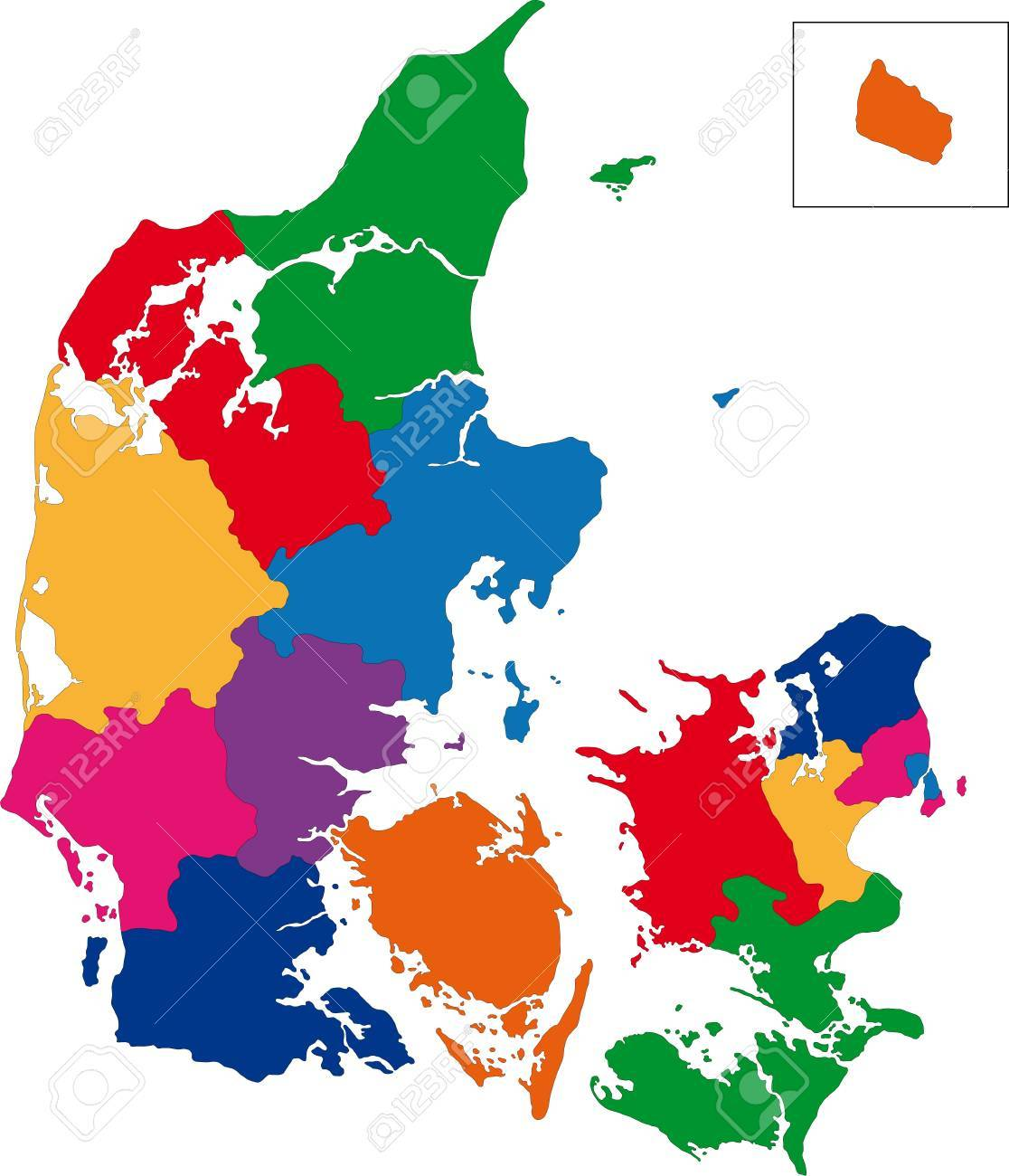 Map Of Administrative Divisions Of Denmark Royalty Free Cliparts