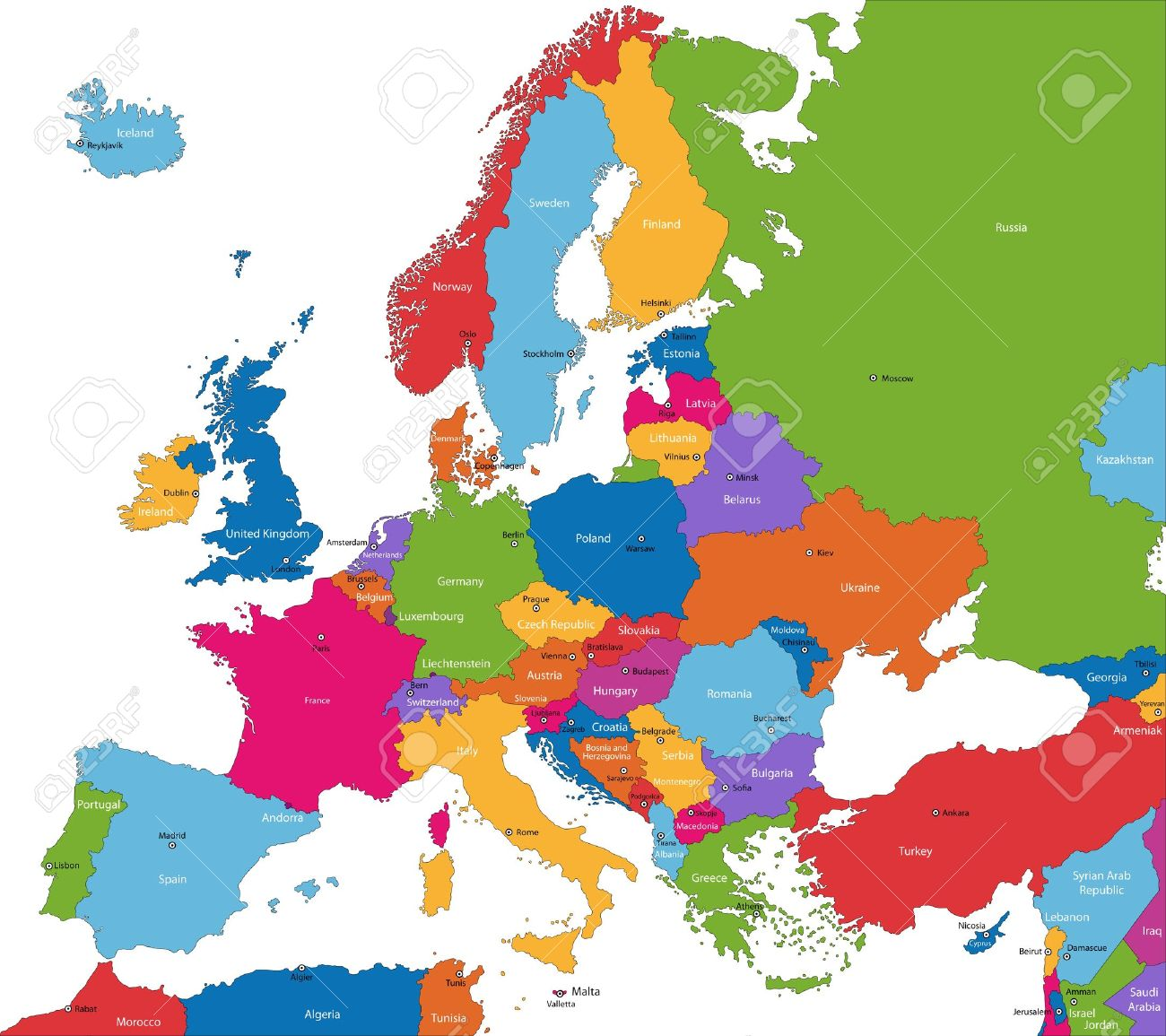 Colorful Europe Map With Countries And Capital Cities Royalty Free