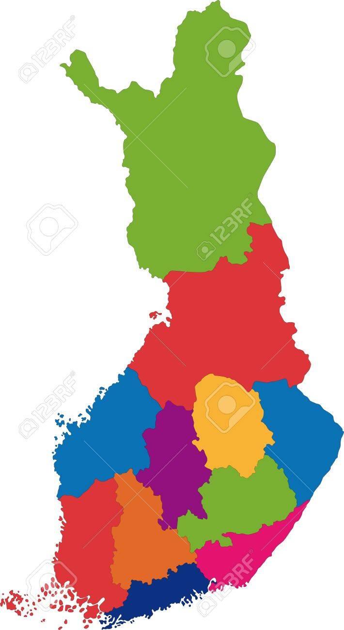フィンランドの地方行政区画のベクトル カラー マップのイラスト素材 ...