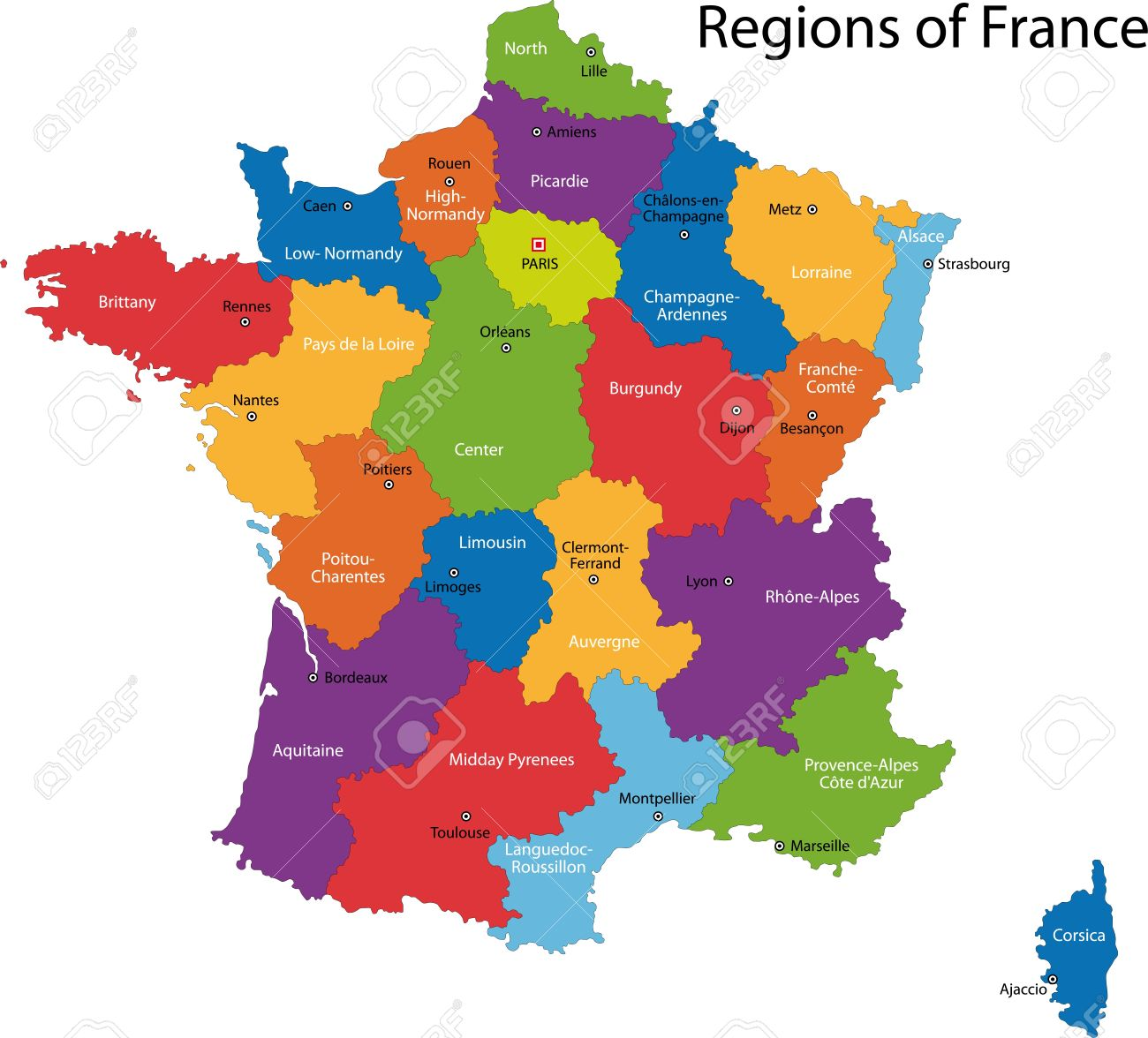 Colorful France Map With Regions And Main Cities Royalty Free