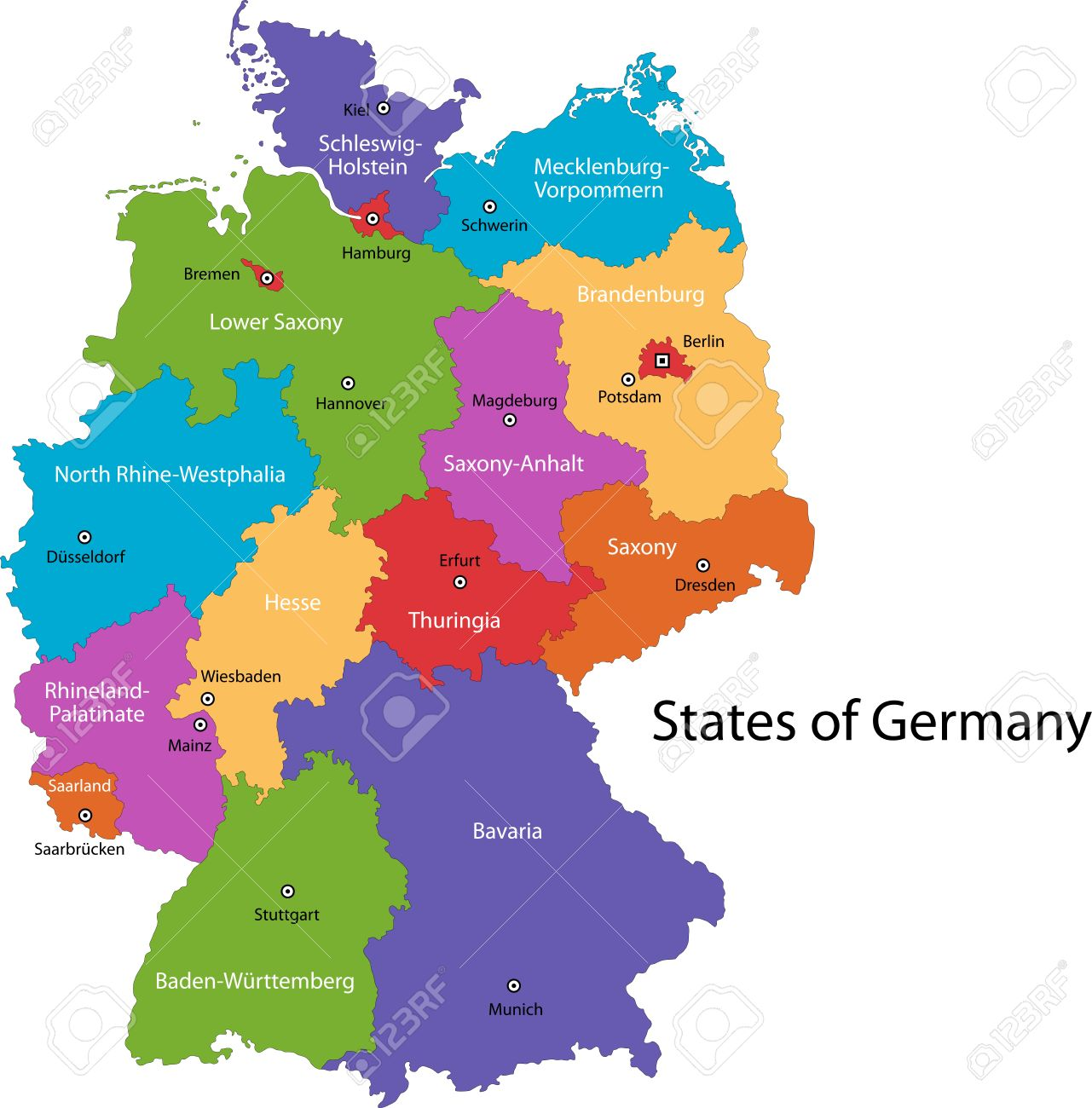 Map Of Germany Regions.Colorful Germany Map With Regions And Main Cities