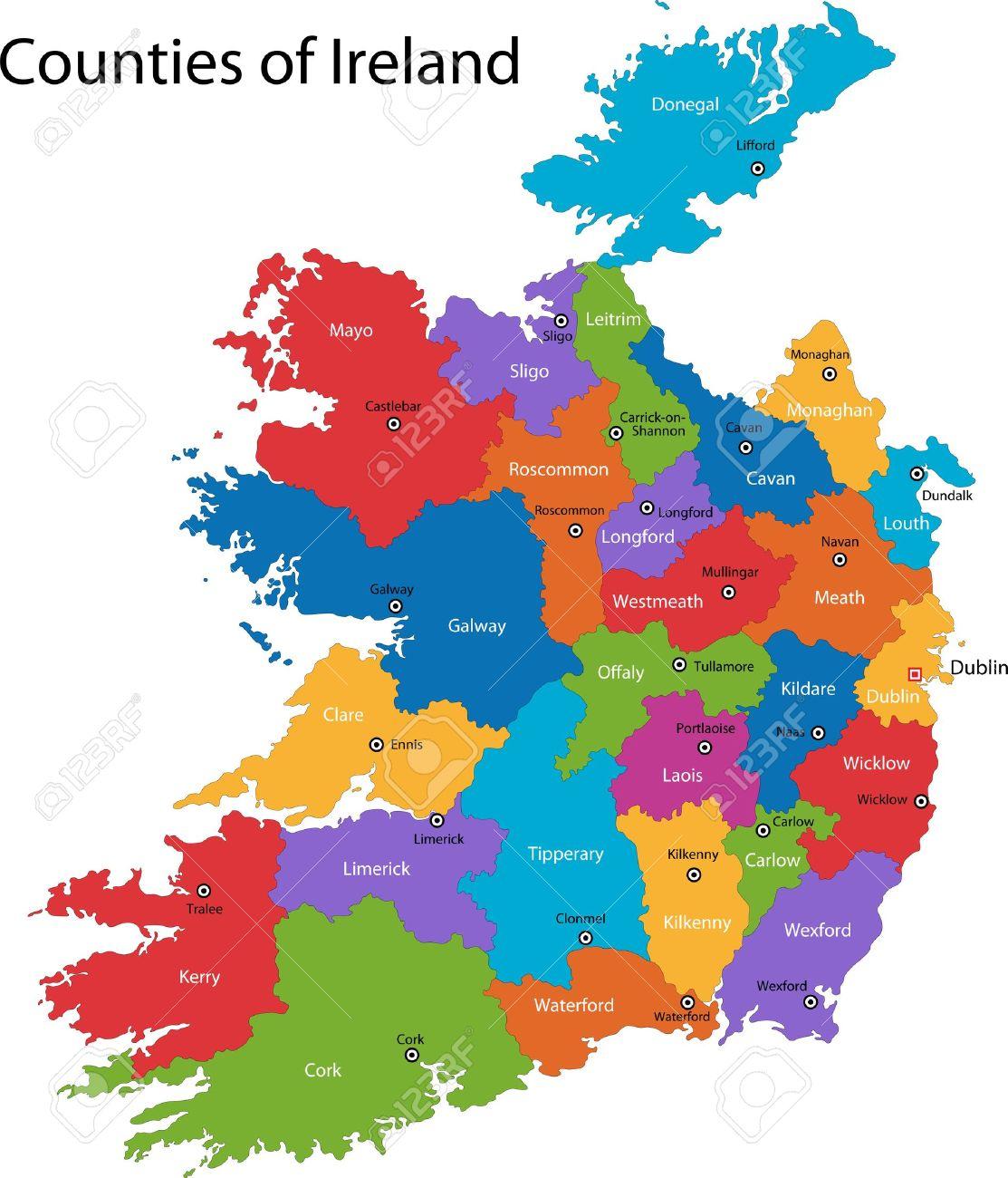 irland regionen karte Bunte Republik Irland Karte Mit Regionen Und Städte Lizenzfrei