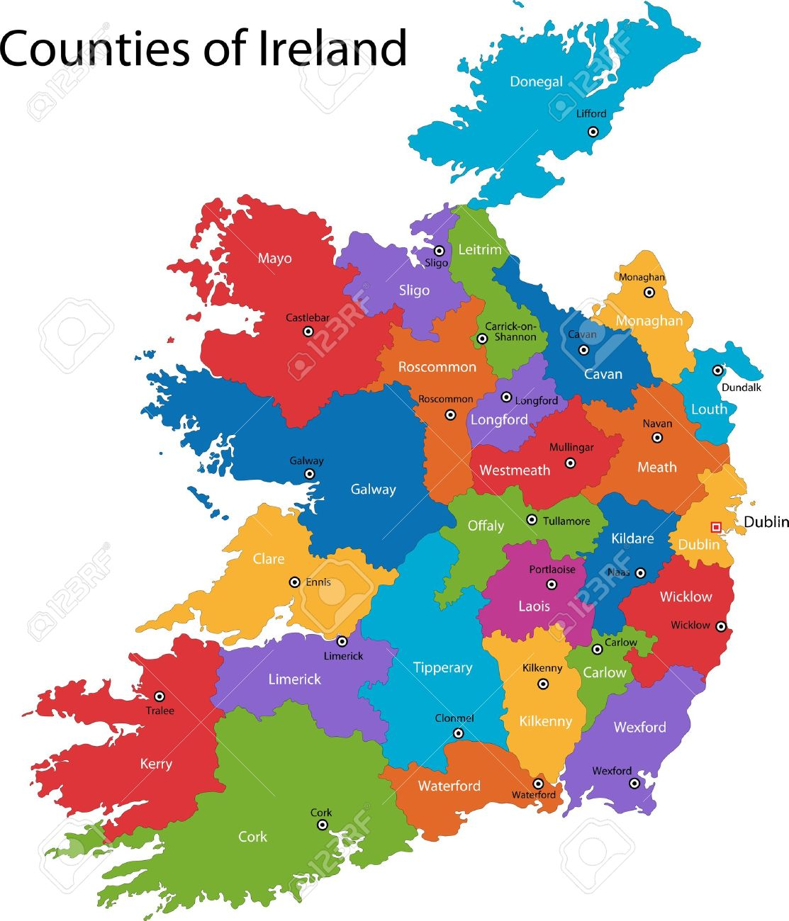 Map Of Ireland Major Cities.Colorful Republic Of Ireland Map With Regions And Main Cities