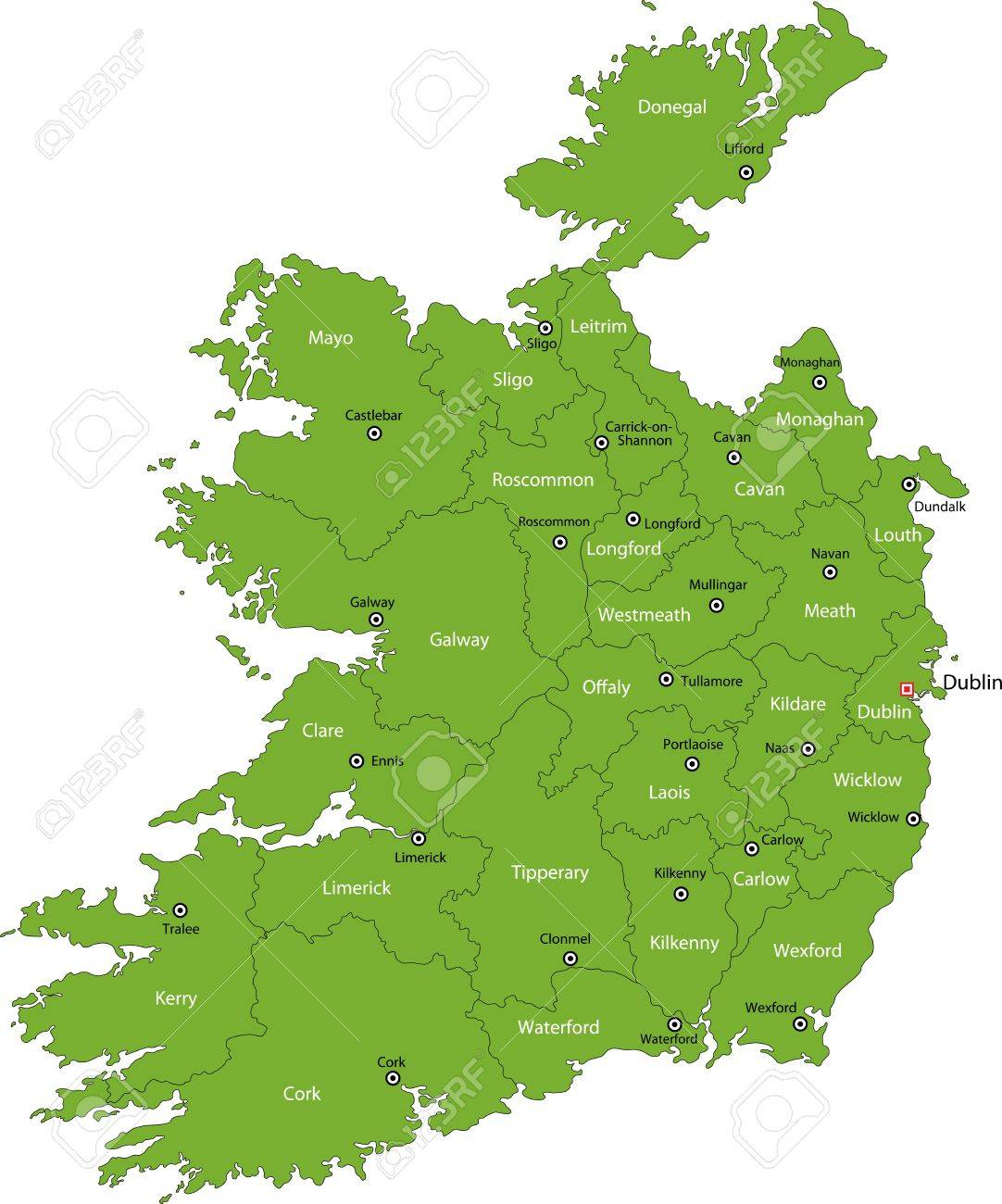 Map Of Ireland Major Cities.Republic Of Ireland Map With Regions And Main Cities Royalty Free