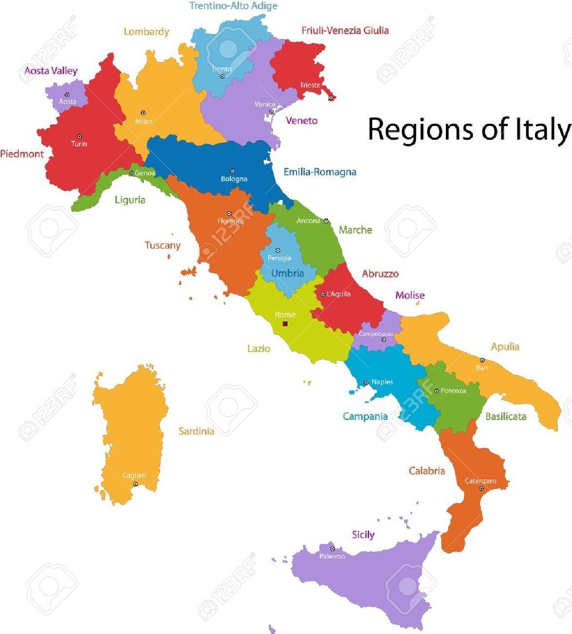 Bunte Italien Karte Mit Regionen Und Stadte Lizenzfrei Nutzbare