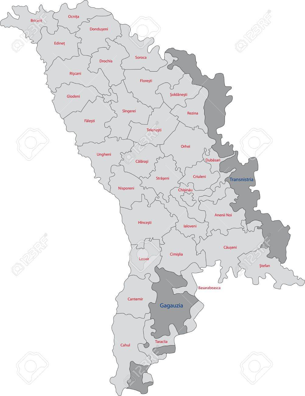 Map Of Administrative Divisions Of Republic Of Moldova Royalty - Moldova map