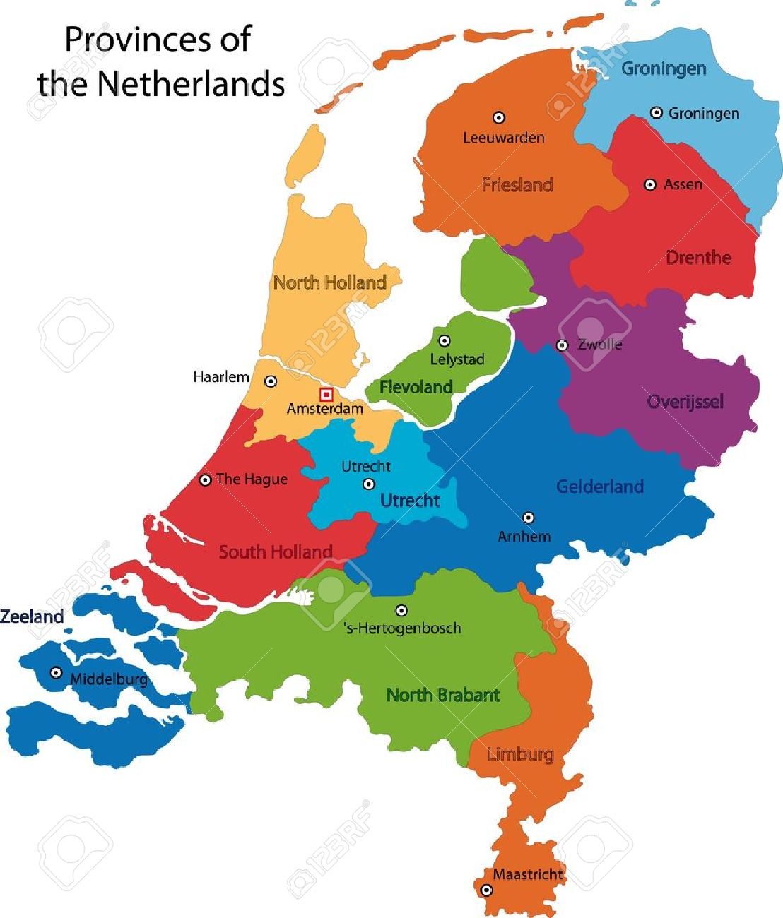 Colorful Netherlands Map With Regions And Main Cities Royalty Free - Netherlands map