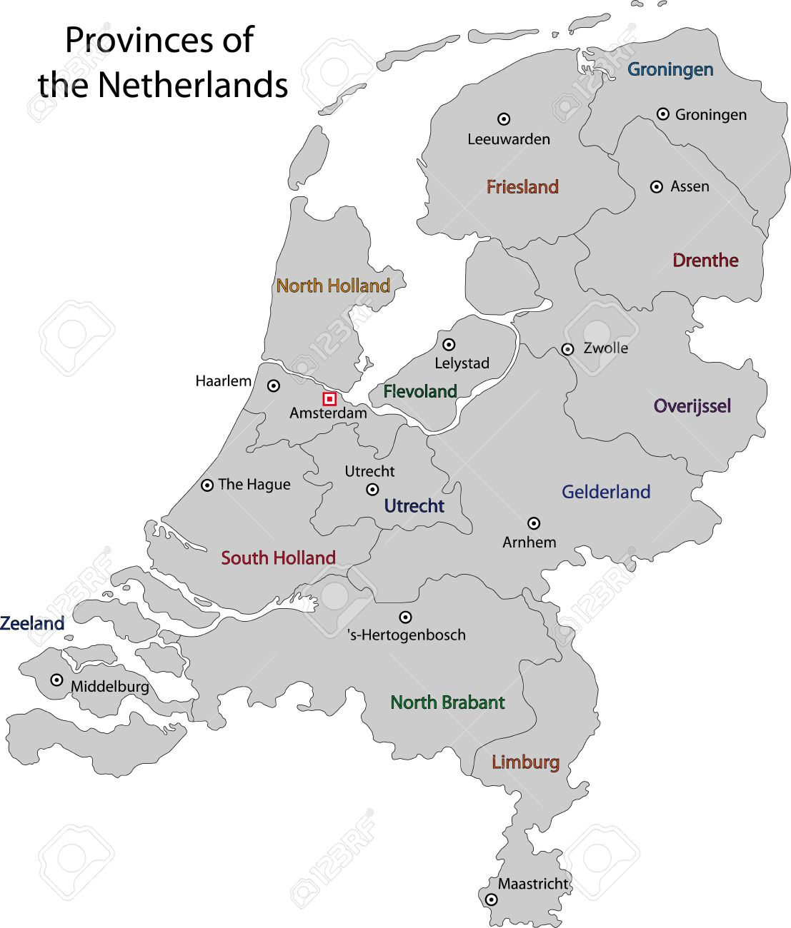 Gray Netherlands Map With Regions And Main Cities Royalty Free