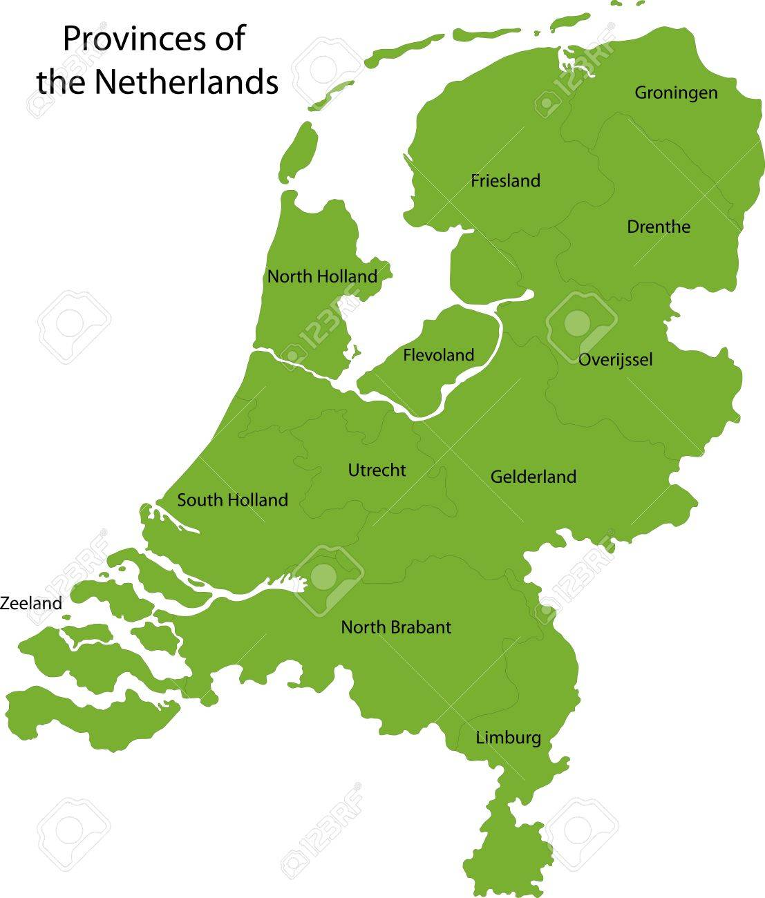Netherlands Map With Regions And Main Cities Royalty Free Cliparts