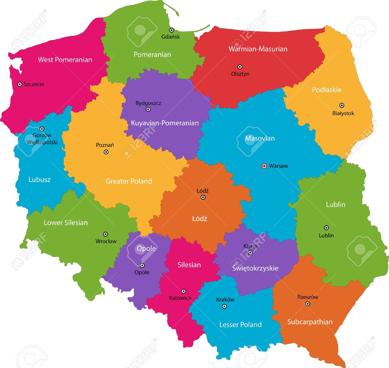 Capital Of Poland Map.Vector Color Map Of Administrative Divisions Of Poland With Capital
