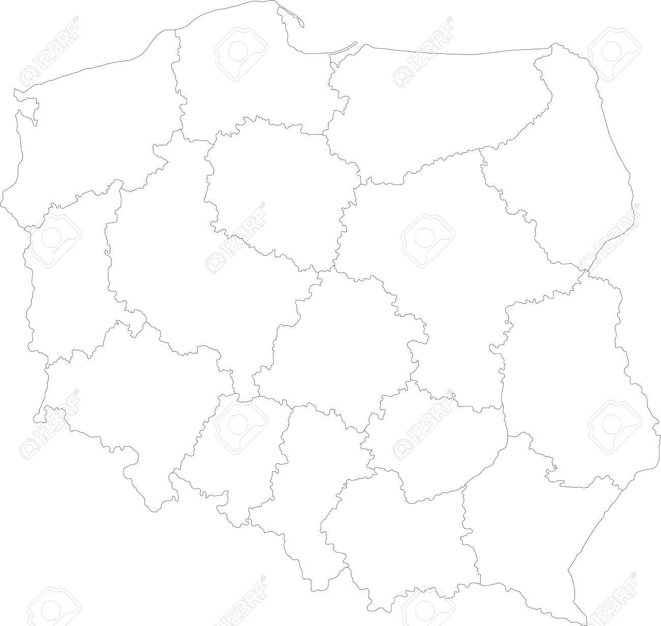 Map Of Administrative Divisions Of Poland Royalty Free Cliparts