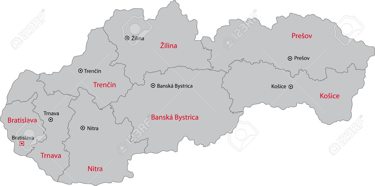 Map Of Administrative Divisions Of Slovakia Royalty Free Cliparts