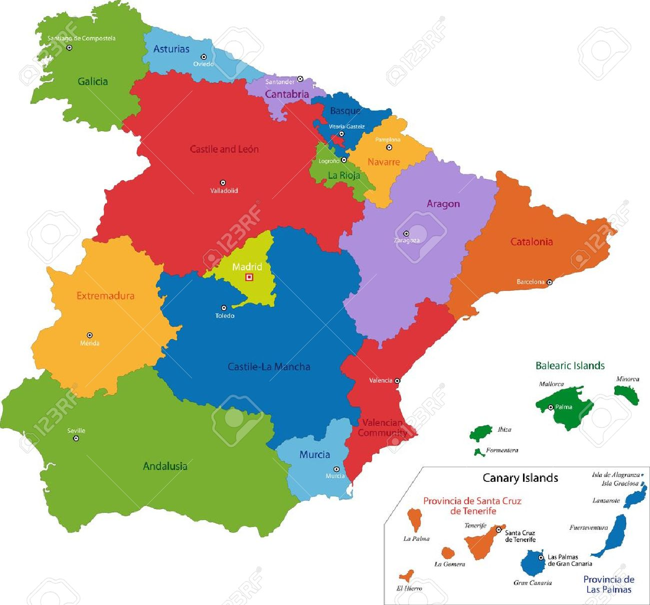 Colorful Spain Map With Regions And Main Cities Royalty Free