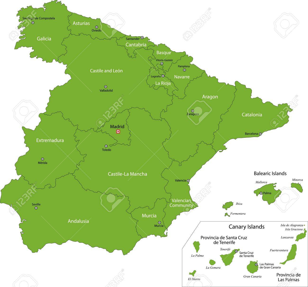 Green Spain Map With Regions Royalty Free Cliparts, Vectors, And ...