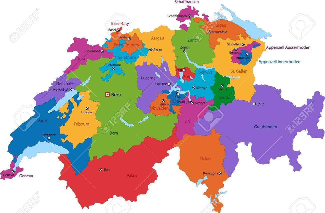 Colorful Switzerland Map With States And Main Cities Royalty Free - Cities map switzerland