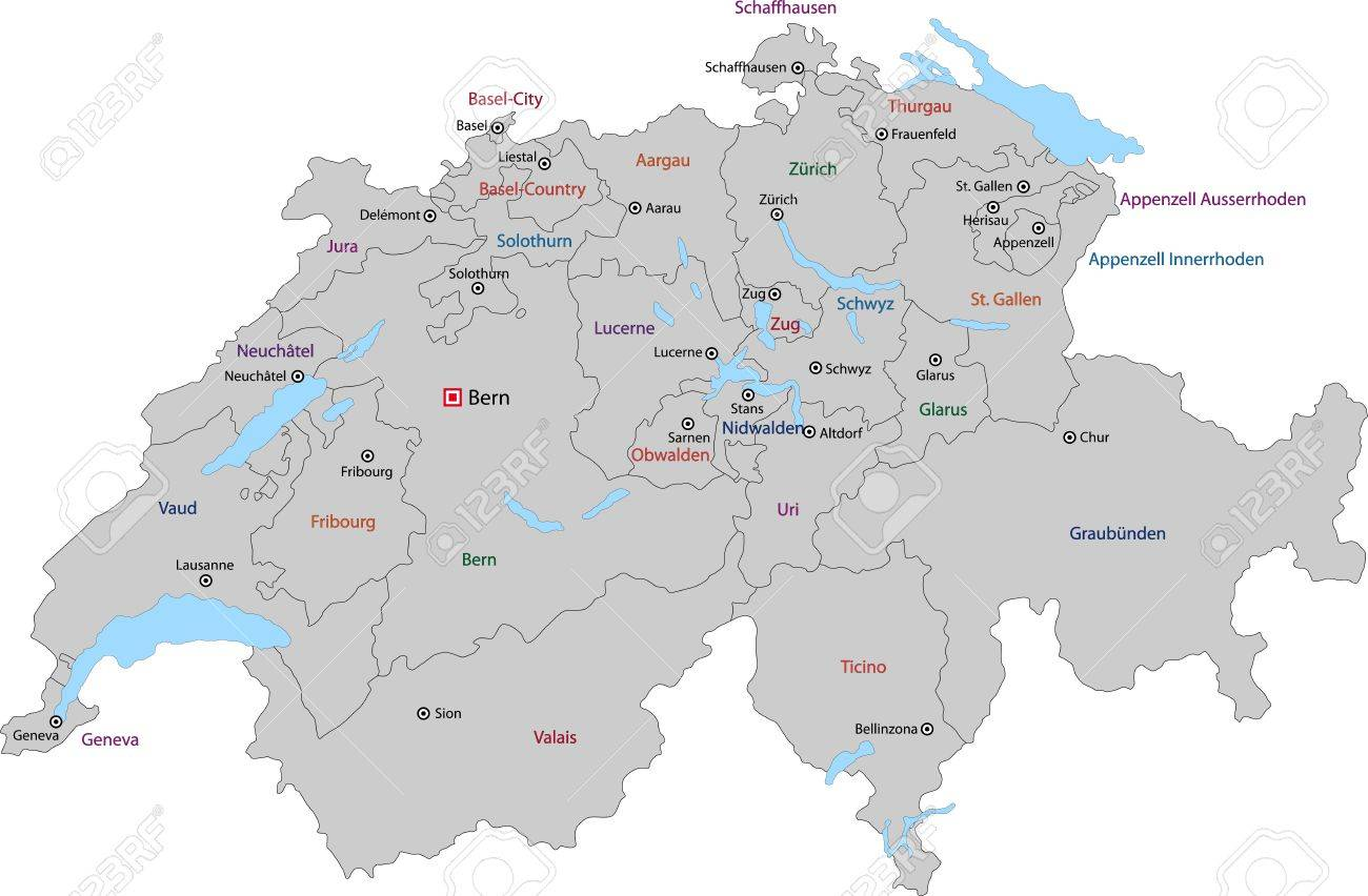 Picture of: Gray Switzerland Map With States And Main Cities Royalty Free Cliparts Vectors And Stock Illustration Image 21813752