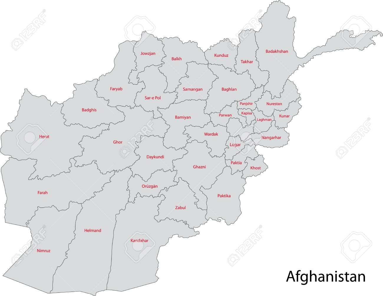 Map Of Administrative Divisions Of Afghanistan Royalty Free Cliparts
