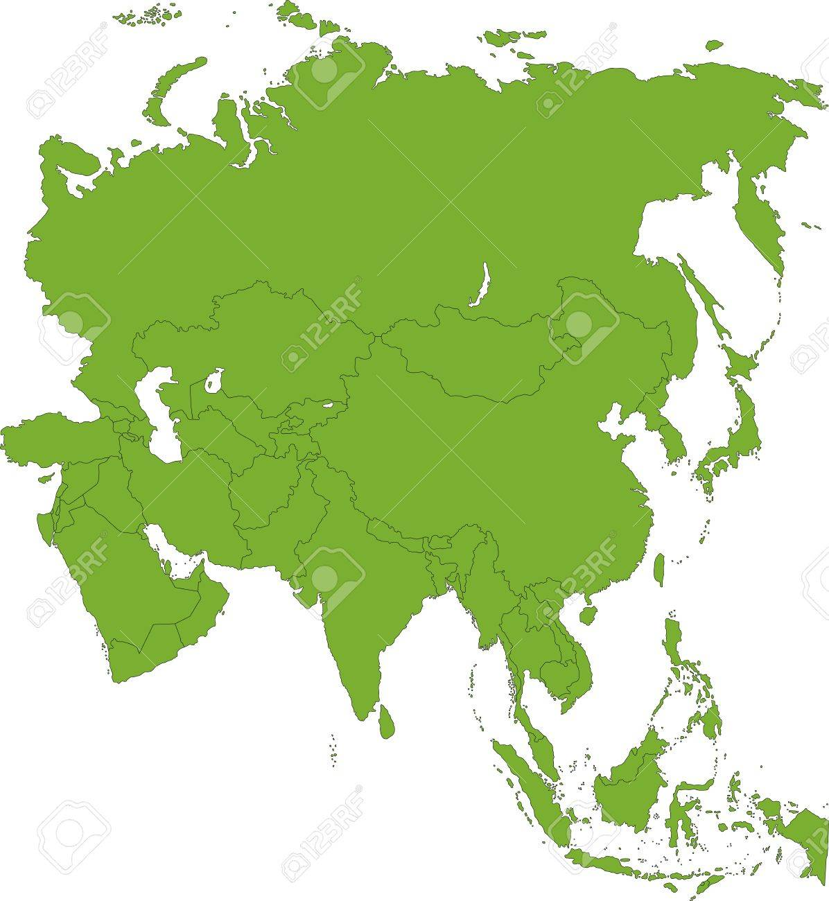Country Asia Map.Green Asia Map With Country Borders Royalty Free Cliparts Vectors