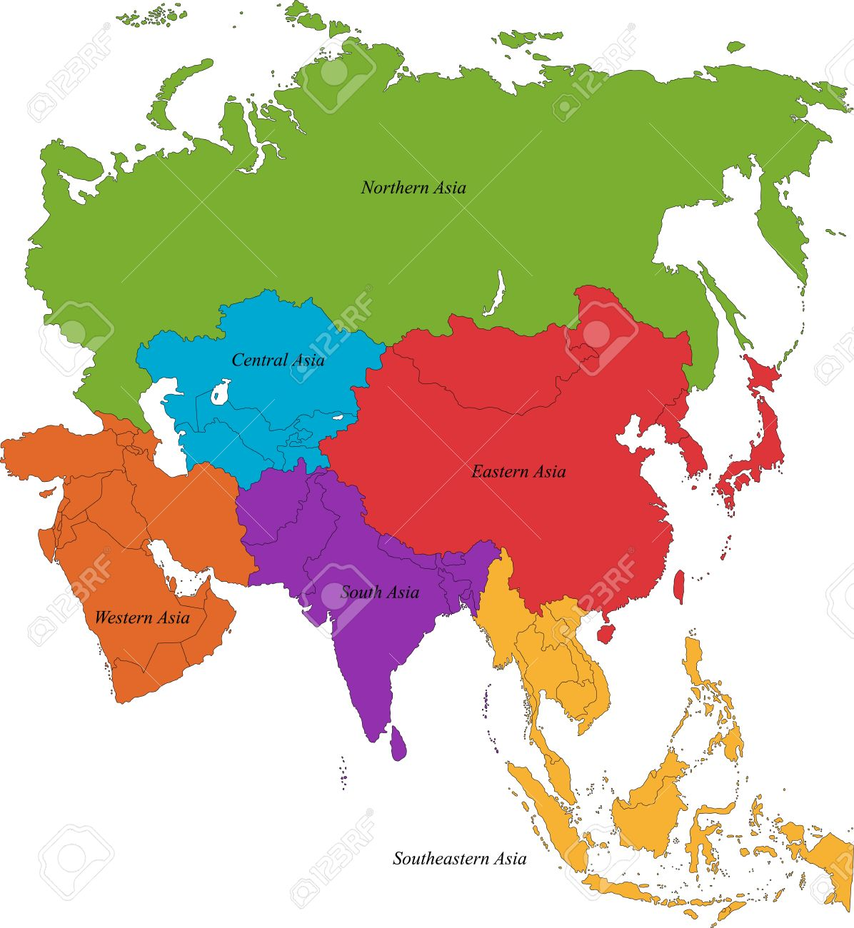 Map Of Asia With Regions.Colorful Asia Map With Six Regions