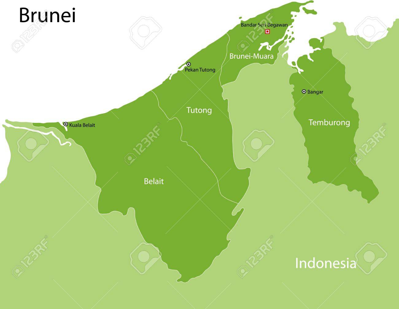 Map Of Administrative Divisions Of Brunei Royalty Free Cliparts