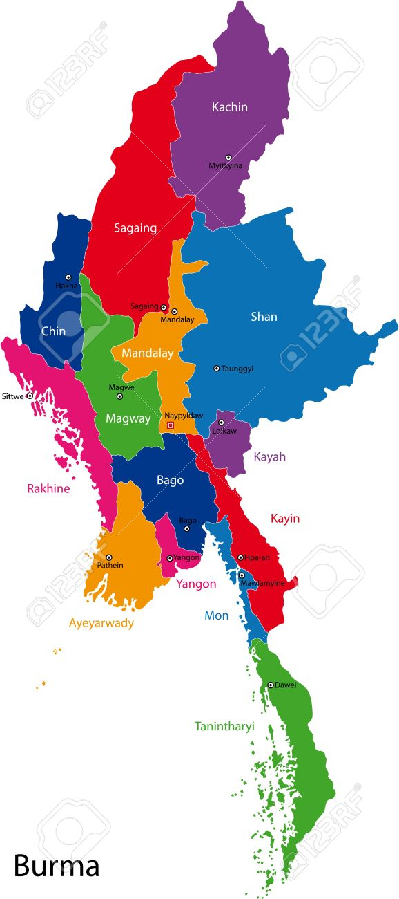 Map Of Administrative Divisions Of Burma Royalty Free Cliparts