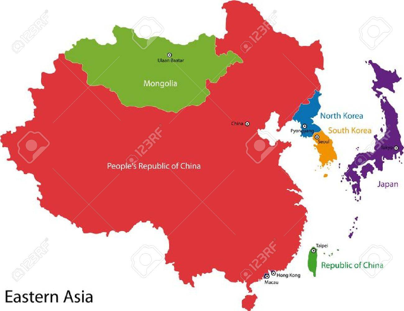 Map Of Eastern Asia Royalty Free Cliparts Vectors And Stock
