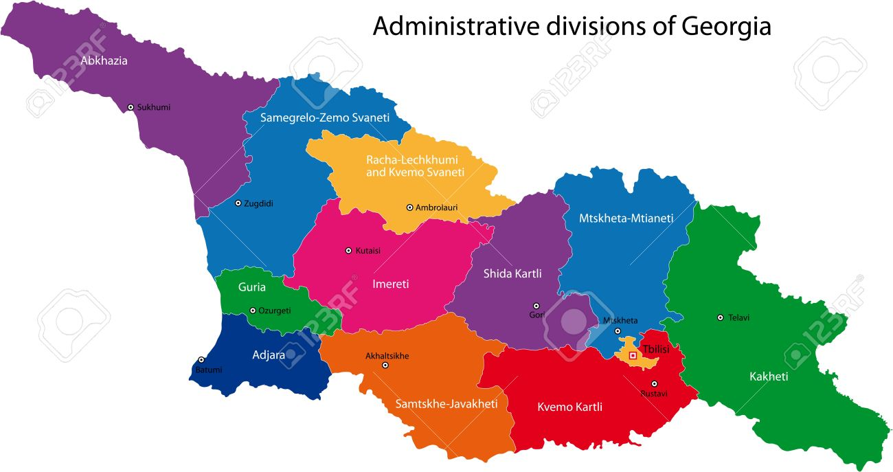 Map Of Administrative Divisions Of Georgia Royalty Free Cliparts