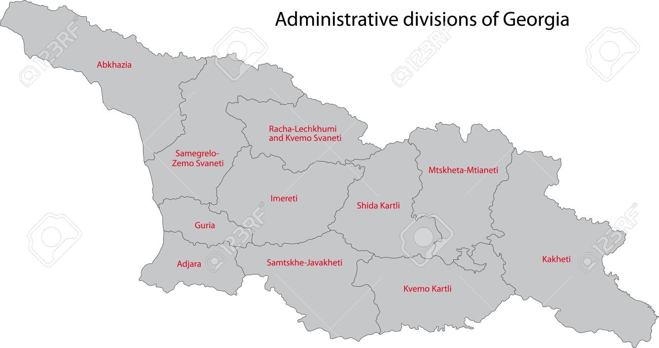 Map Of Administrative Divisions Of Georgia Royalty Free Cliparts - Georgia map vector free download