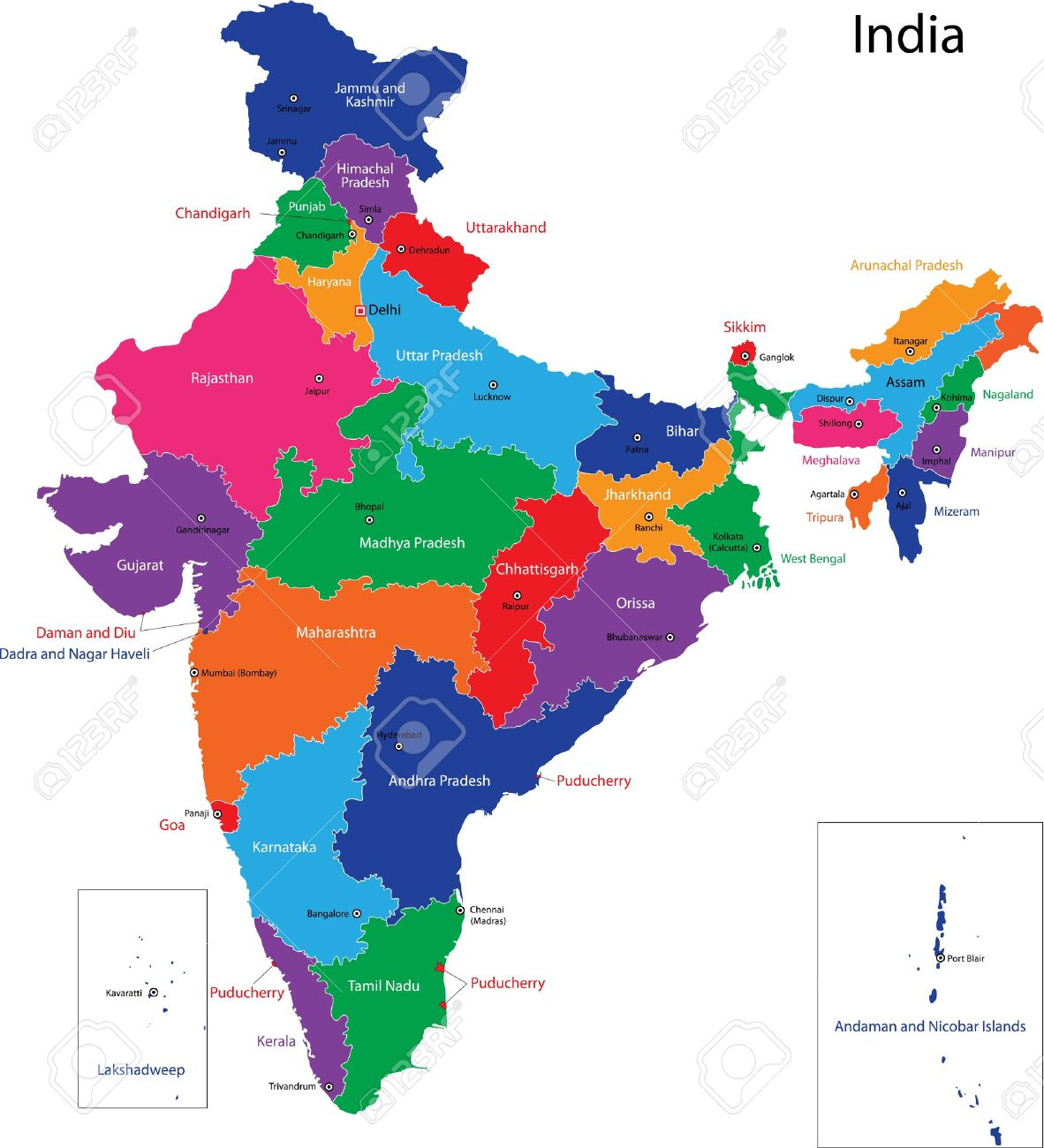 Map Of Administrative Divisions Of India Royalty Free Cliparts