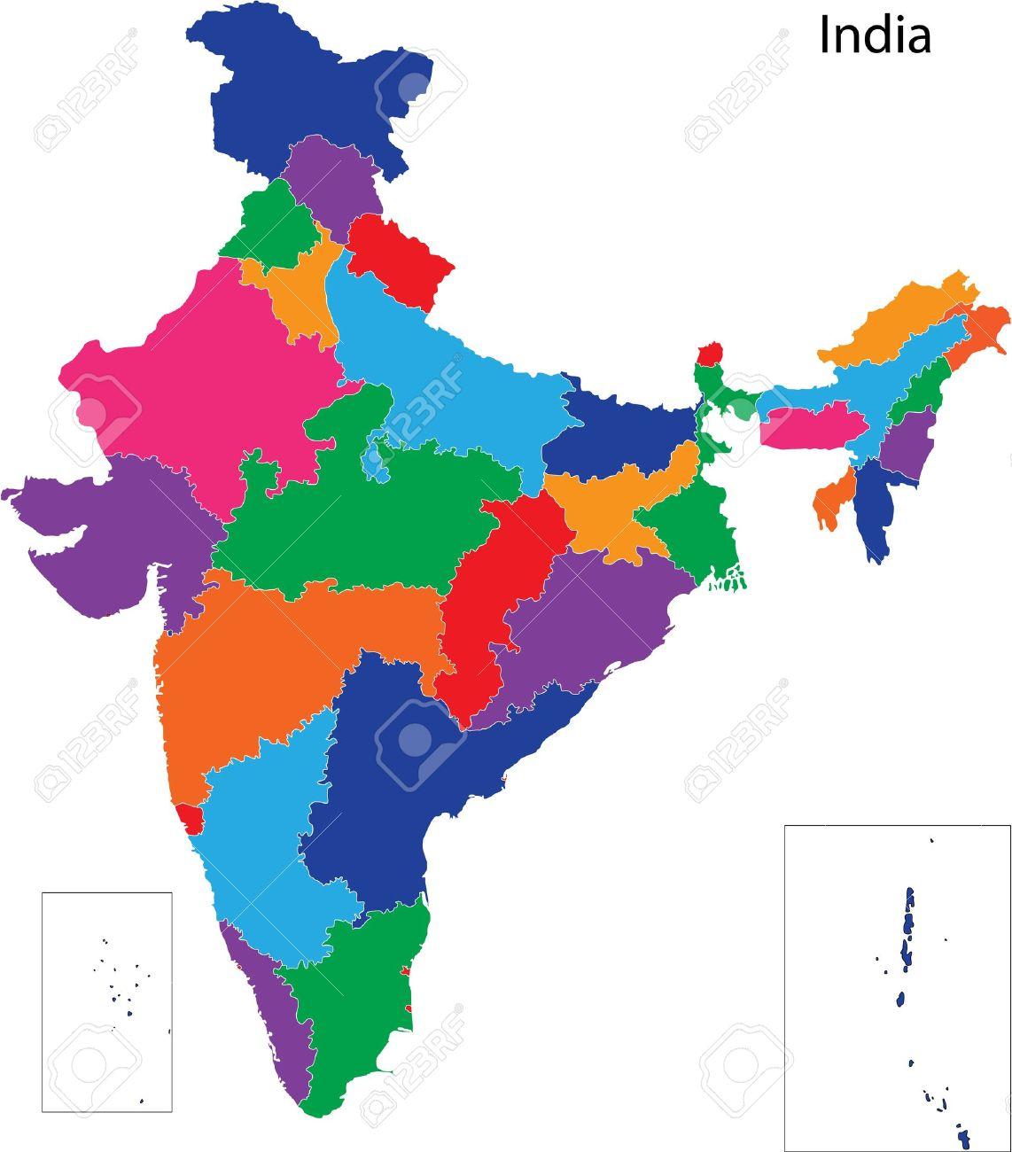 Karta Over Administrativa Indelningar Av Indien Royalty Fri Clipart