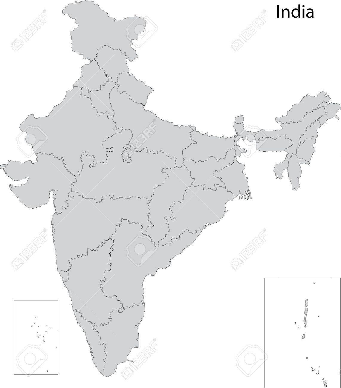 インドの地方行政区画の地図 ロ...