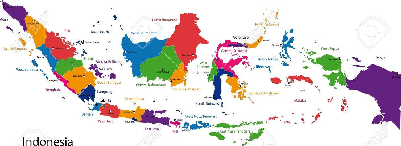 Map Of Administrative Divisions Of Indonesia Royalty Free Cliparts