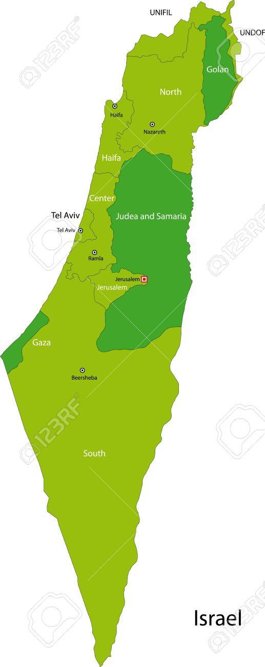 Map Of Administrative Divisions Of Israel Royalty Free Cliparts