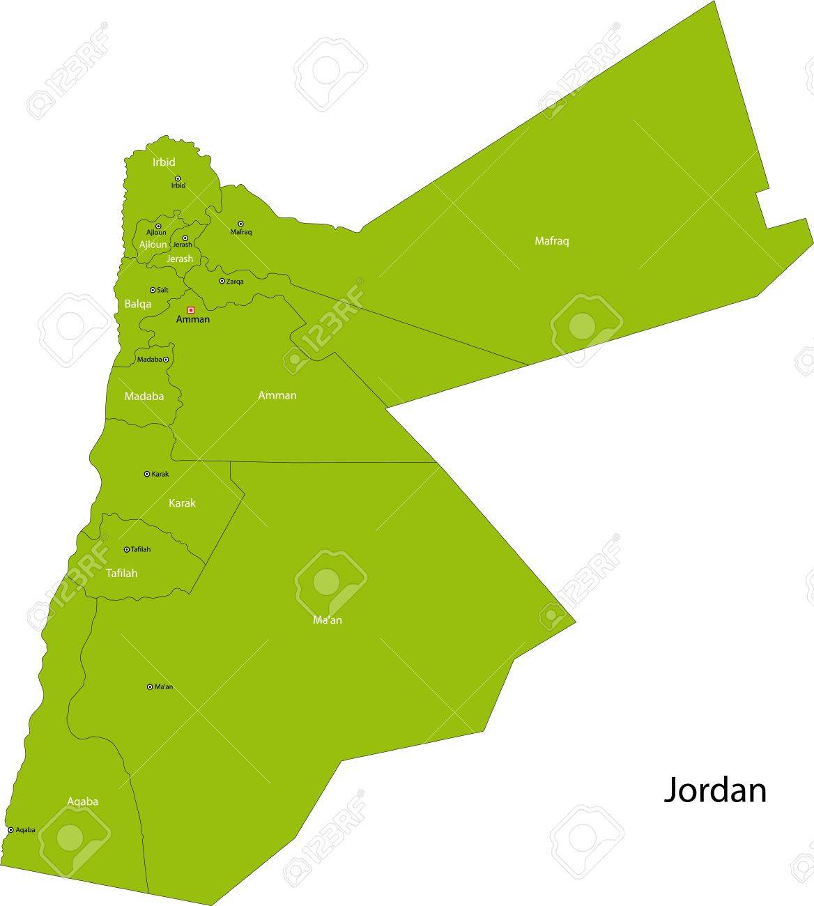 Map Of Administrative Divisions Of Jordan Royalty Free Cliparts