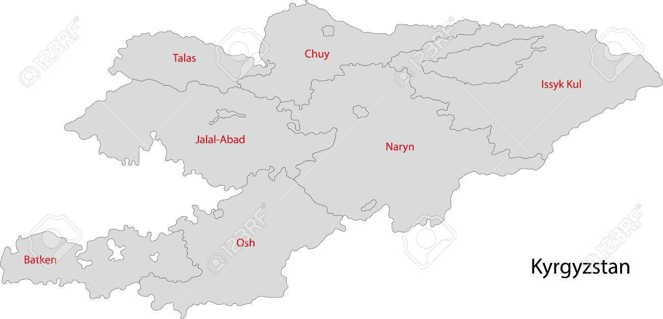 Map Of Administrative Divisions Of Kyrgyzstan Royalty Free - Kyrgyzstan map