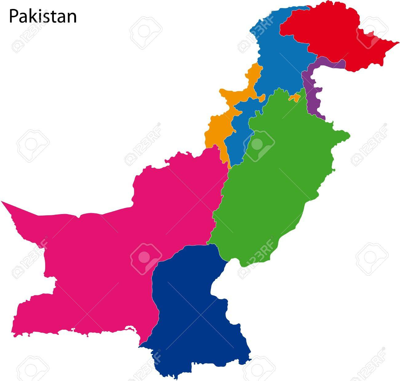 Map Of Administrative Divisions Of Pakistan Royalty Free Cliparts