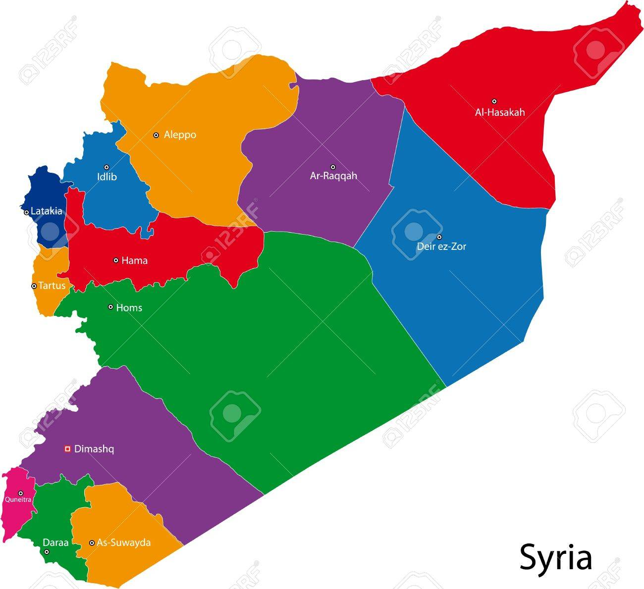 Map Of Administrative Divisions Of Syria Royalty Free Cliparts