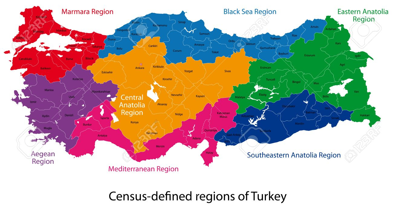 Map Of Administrative Divisions Of Turkey Royalty Free Cliparts