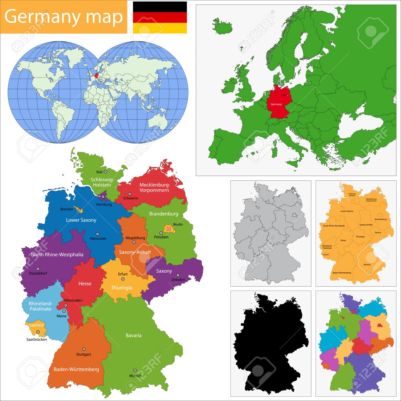 Germany Map With Regions And Main Cities Royalty Free Cliparts