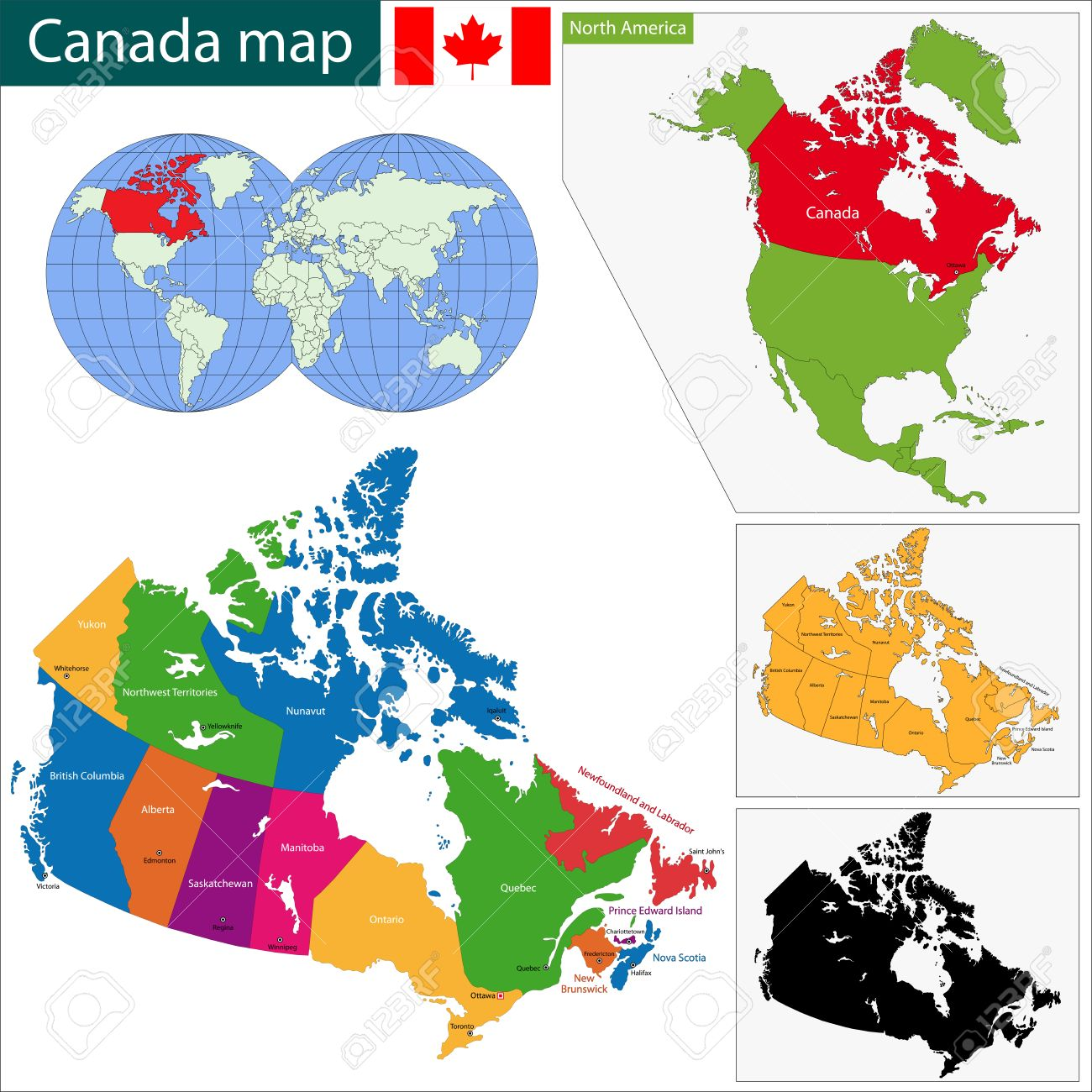 Map Of Canada With Provinces And Capital Cities.Colorful Canada Map With Provinces And Capital Cities