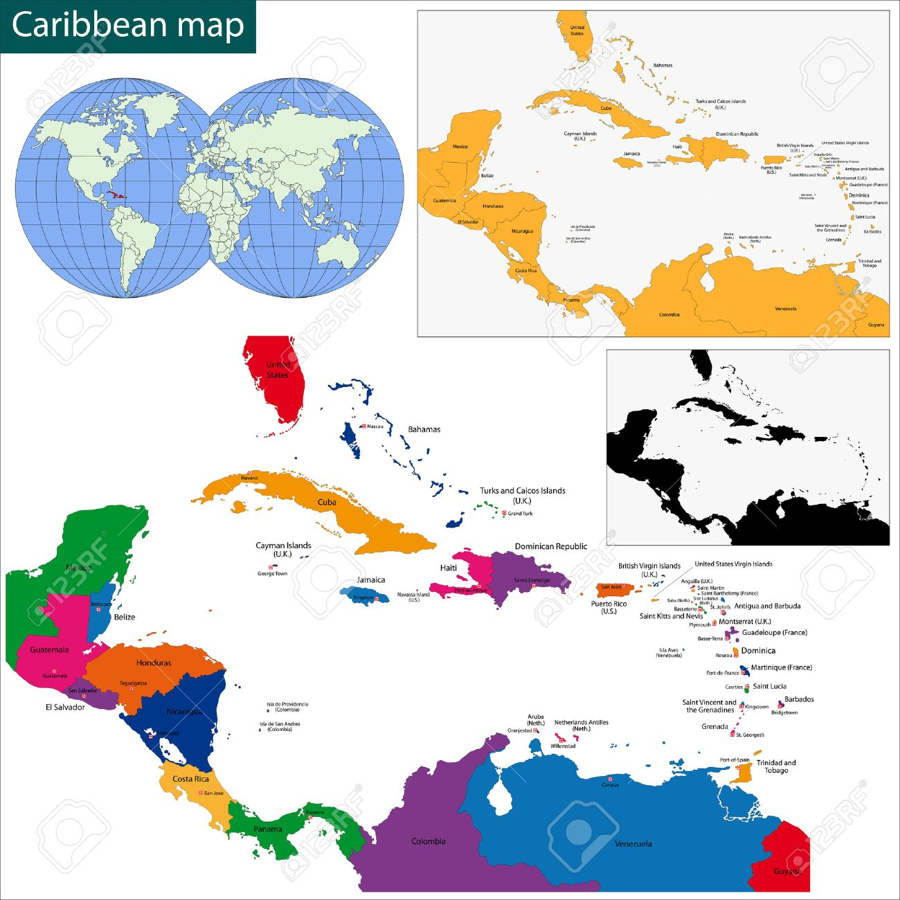 Colorful Caribbean Map With Countries And Capital Cities Royalty
