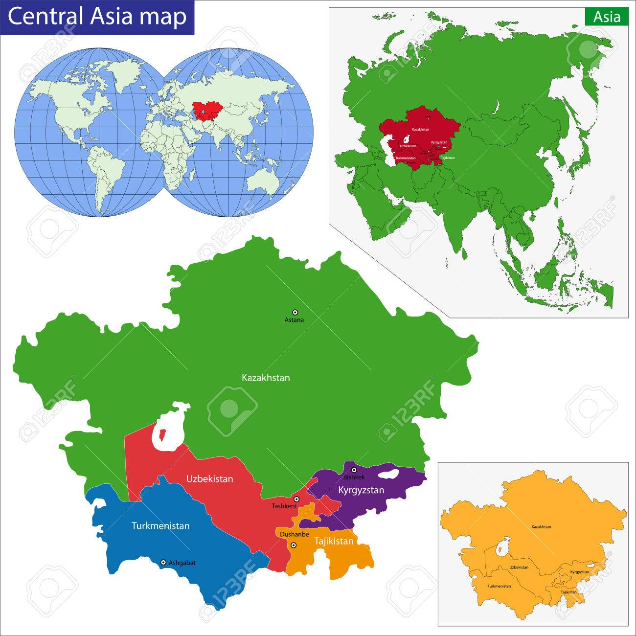 Color Map Of Central Asia Divided By The Countries Royalty Free