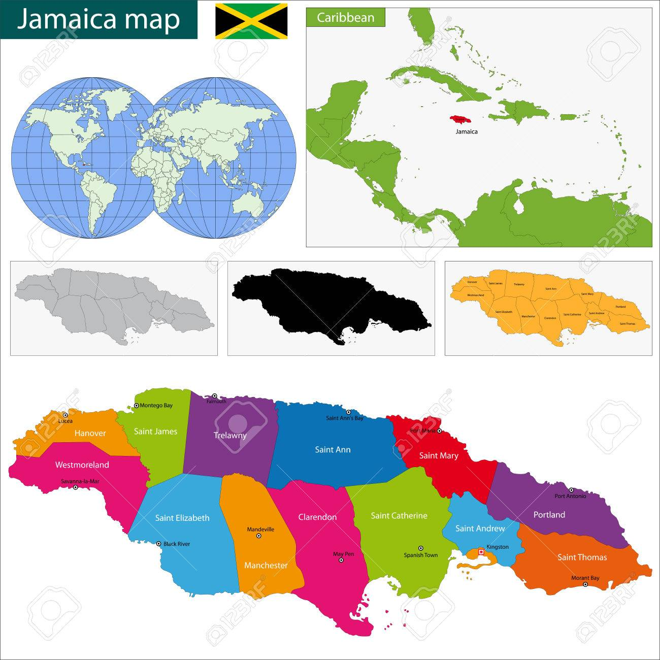 Map Of Jamaica With The Parishes The Capital Cities Royalty Free - Jamaica cities map