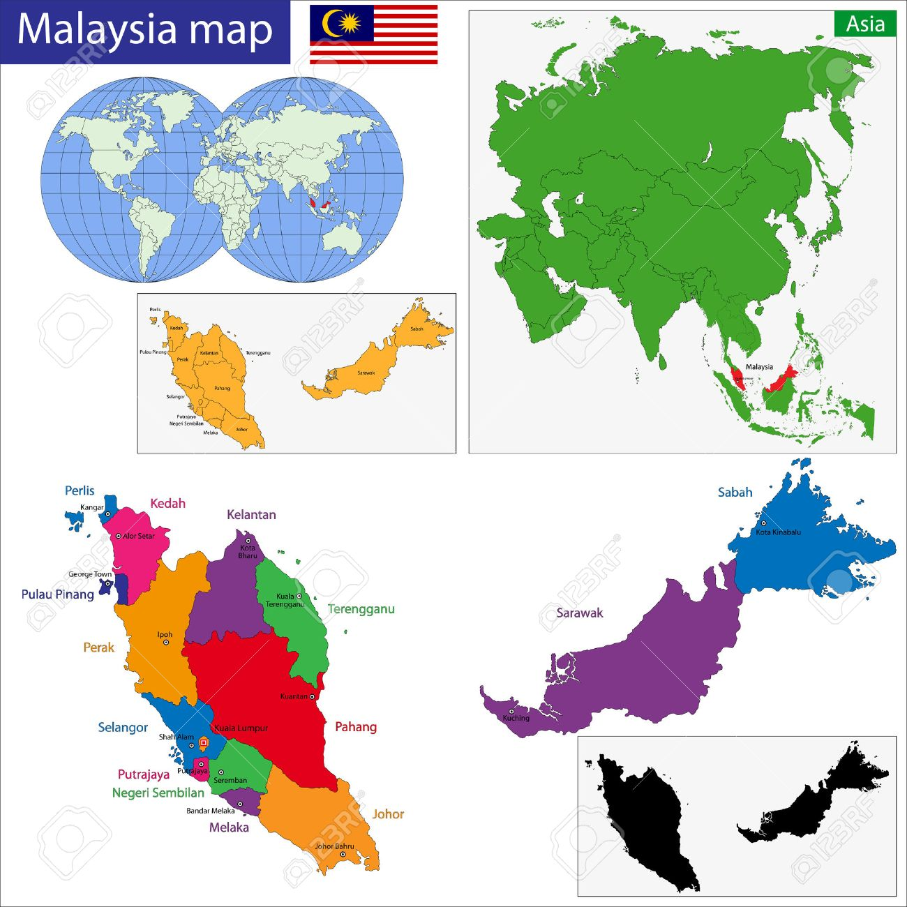 Picture of: Map Of Malaysia With The States Colored In Bright Colors Royalty Free Cliparts Vectors And Stock Illustration Image 24378410