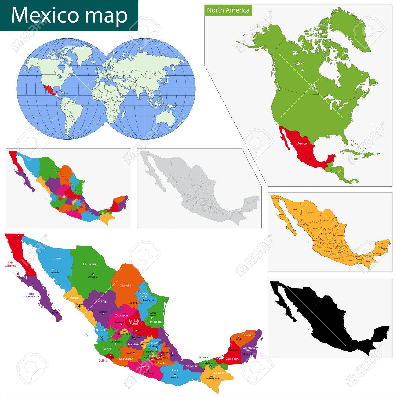 Mexico United States Of Administrative Map And Flag Stock Photo - Clip art us map