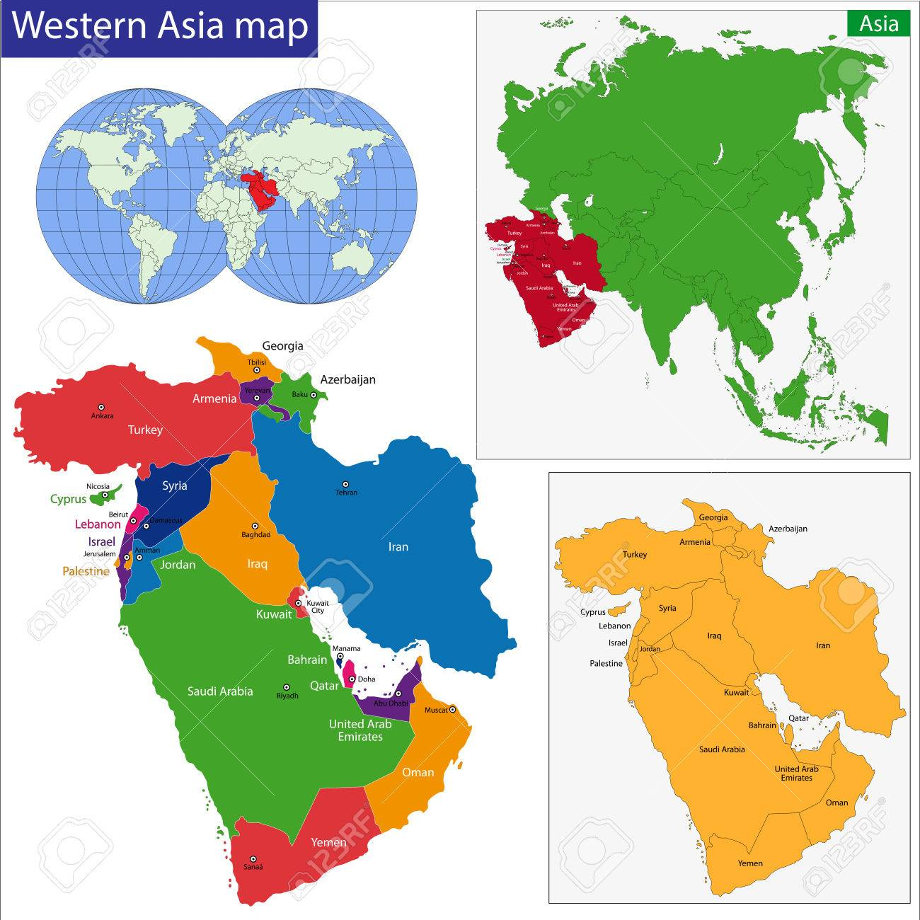 color map of western asia divided by the countries royalty free