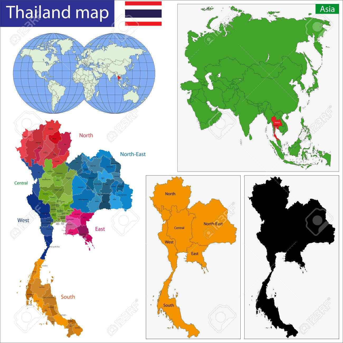 Map Of Kingdom Of Thailand With The Provinces Colored In Bright