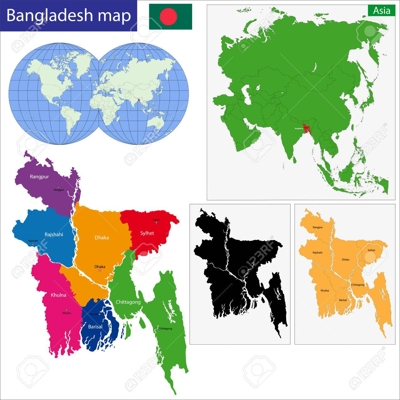 Map Of Peoples Republic Of Bangladesh With The Provinces Colored - Map of dhaka division bangladesh