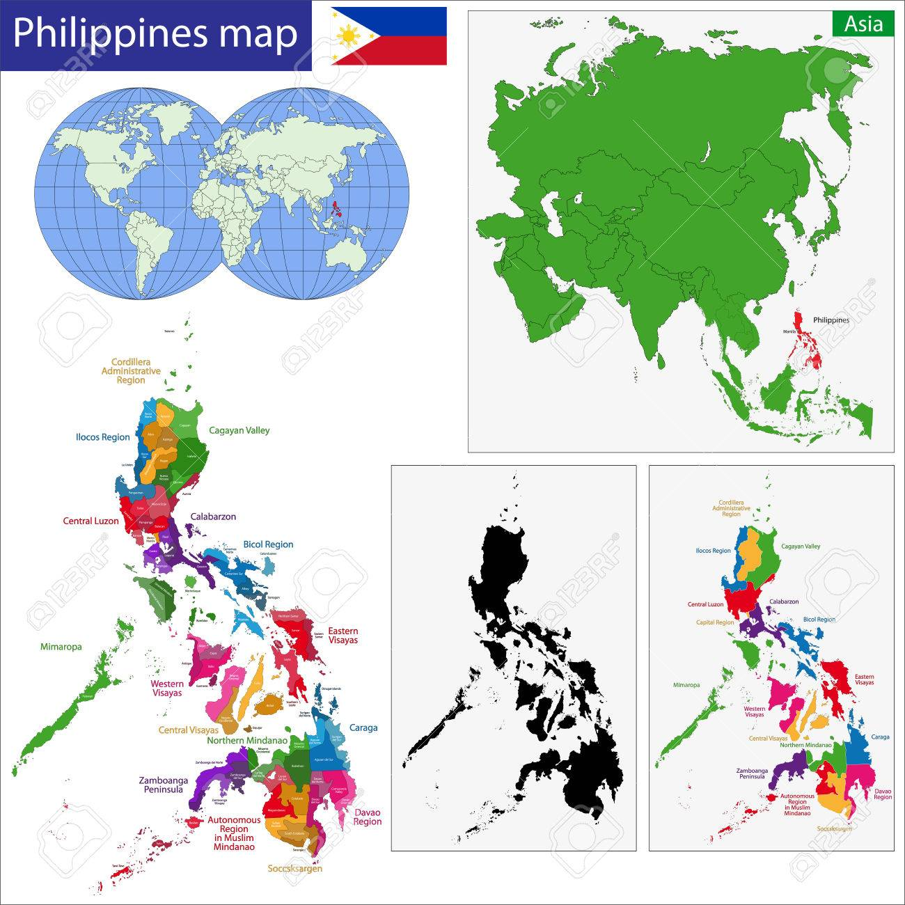 Map Of Republic Of The Philippines With The Provinces Colored