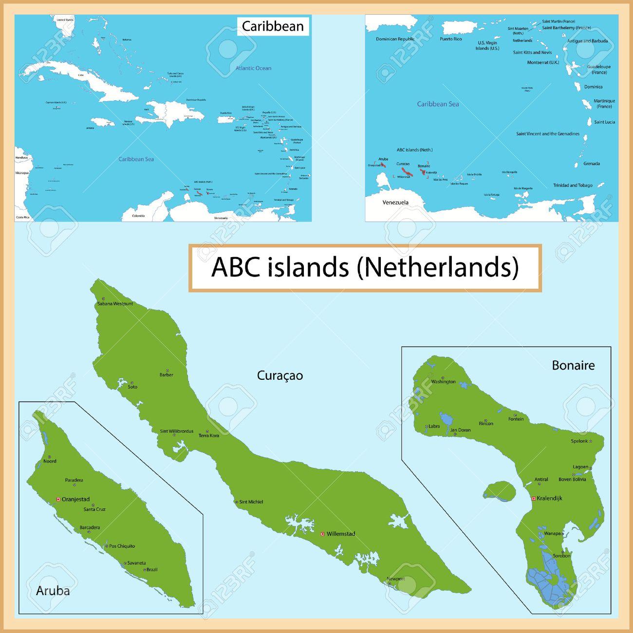 Kaart Van De Aruba Bonaire Curacao Eilanden Getekend Met Hoog